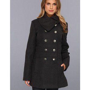 Jessica Simpson Black Button-Up Pea Coat